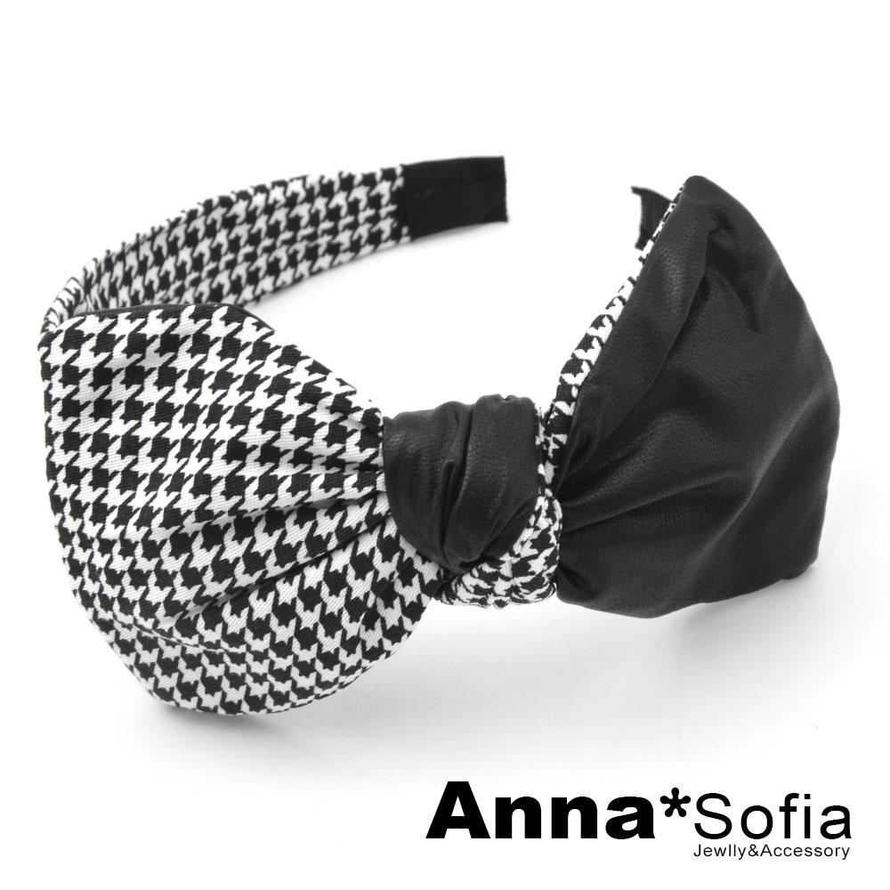 【2件7折】AnnaSofia 千鳥紋拼革大蝶結 韓式寬髮箍(黑系) @ Y!購物