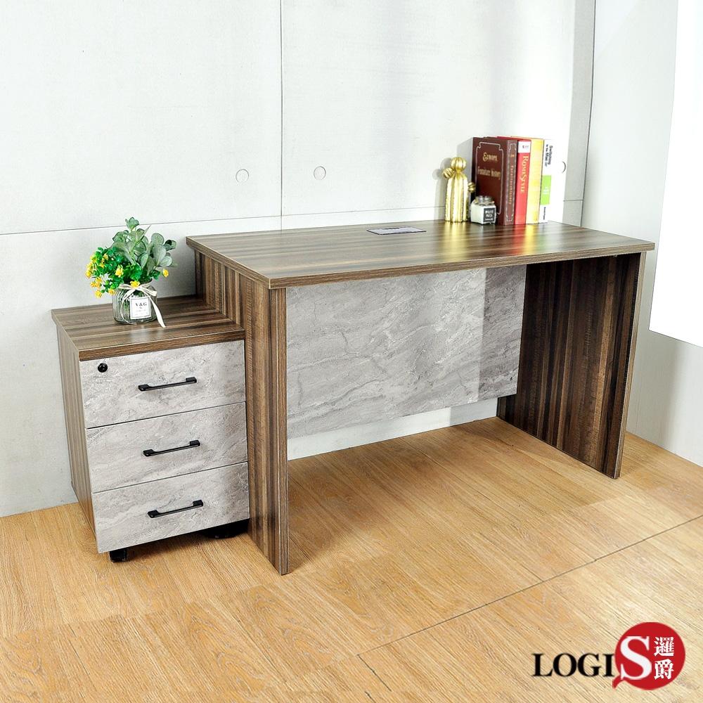 LOGIS邏爵 克里斯木&石紋活動櫃書桌 辦公桌 工作桌 120*60CM