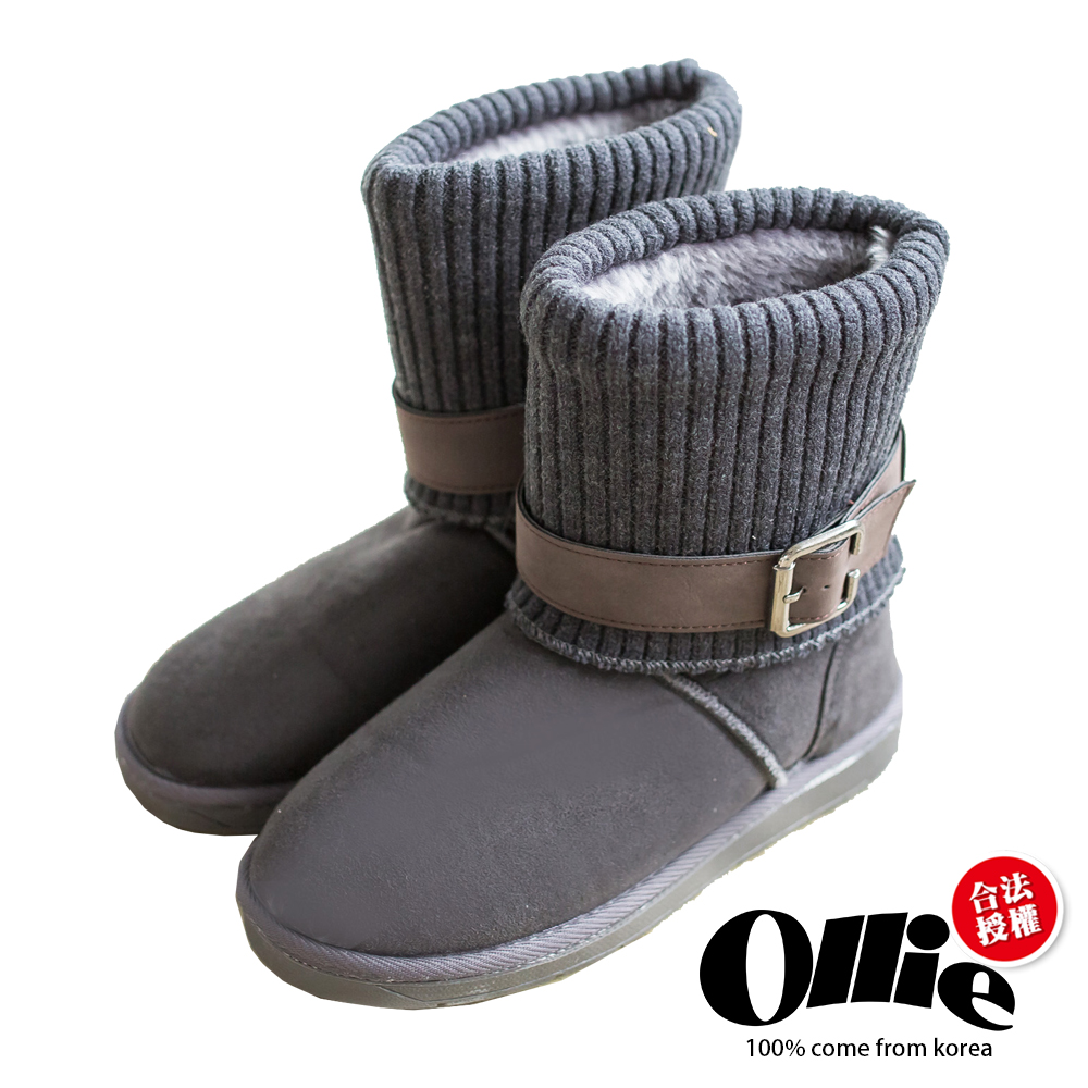 Aviator韓國空運-Ollie正韓製多穿法顯瘦內鋪毛厚底雪靴-灰