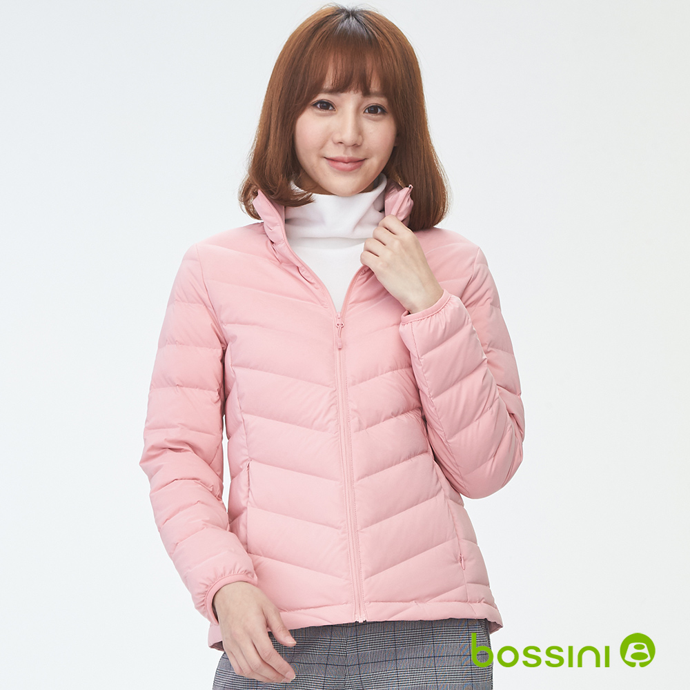 bossini女裝-90/10彈性無縫羽絨外套嫩粉