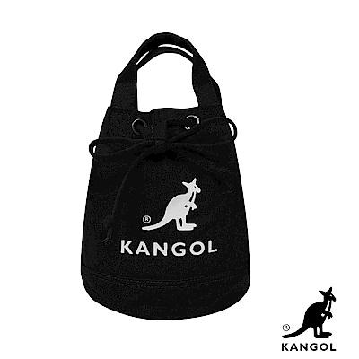 KANGOL 韓版玩色系列-帆布斜背水桶包-黑KGC1214
