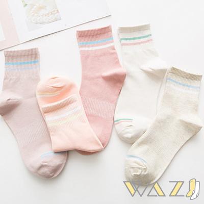 Wazi-日系小清新雙槓條中筒襪 (1組五入)