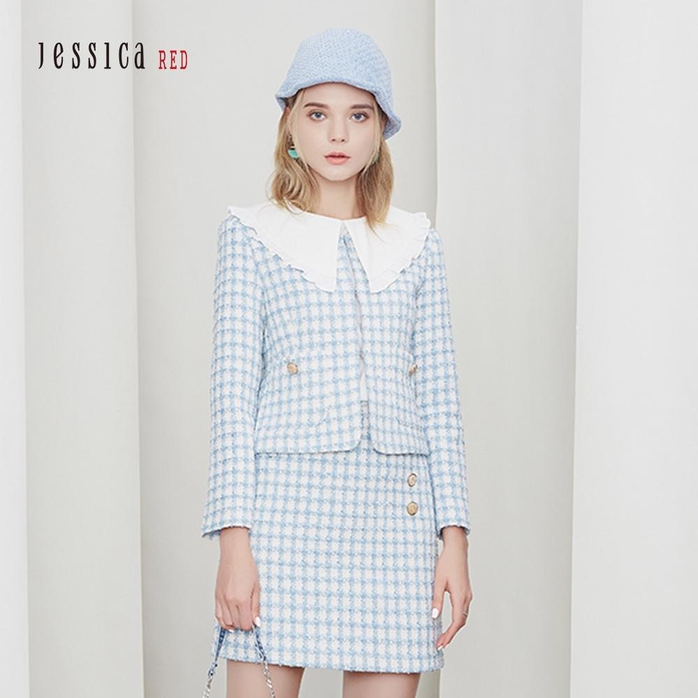JESSICA RED - 精緻修身復古格紋花呢圓領短外套