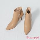 Grace gift-韓系尖頭細跟皮革靴 杏