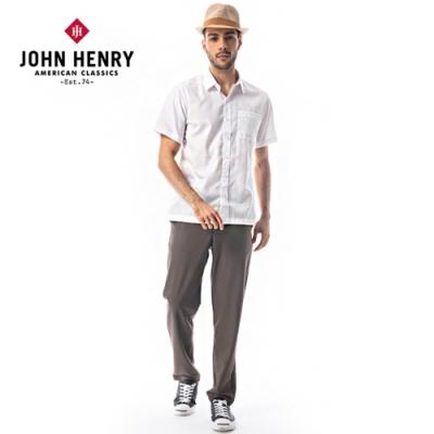 【JOHN HENRY】幾何車縫線造型短袖襯衫-二色選