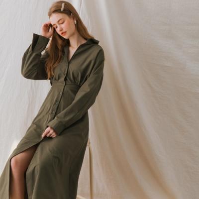 AIR SPACE LADY 復古翻領襯衫長袖洋裝(軍綠)