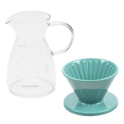 CAFEDE KONA 波佐見燒 HASAMI 時光陶瓷濾杯01分享壺組-綠