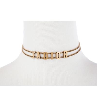 DIOR 新款「J ADIOR」鍍金復古金屬鎖骨項鍊 (金色)