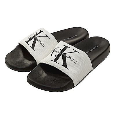 Calvin Klein Jeans LOGO 帆布休閒拖鞋*白色