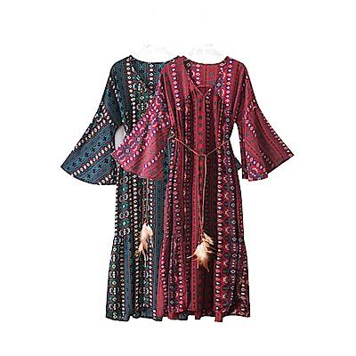 復古嬉皮綁帶洋裝-S(共二色)-維拉森林