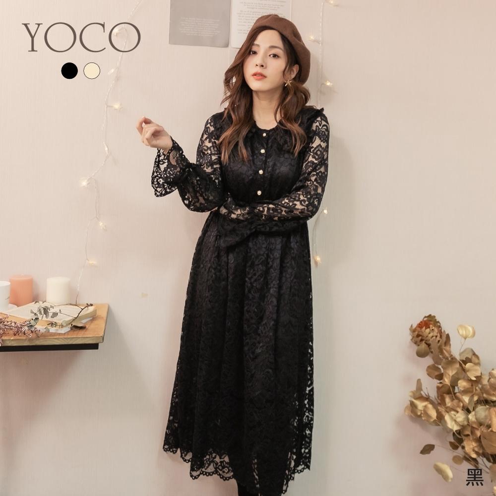 東京著衣-YOCO 自帶仙氣蕾絲荷葉滾邊蕾絲洋裝