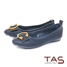 TAS C字金屬扣飾羊皮娃娃鞋-知性藍