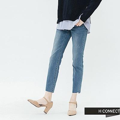 H:CONNECT 韓國品牌 女裝-水洗刷色磨破直筒牛仔褲-藍