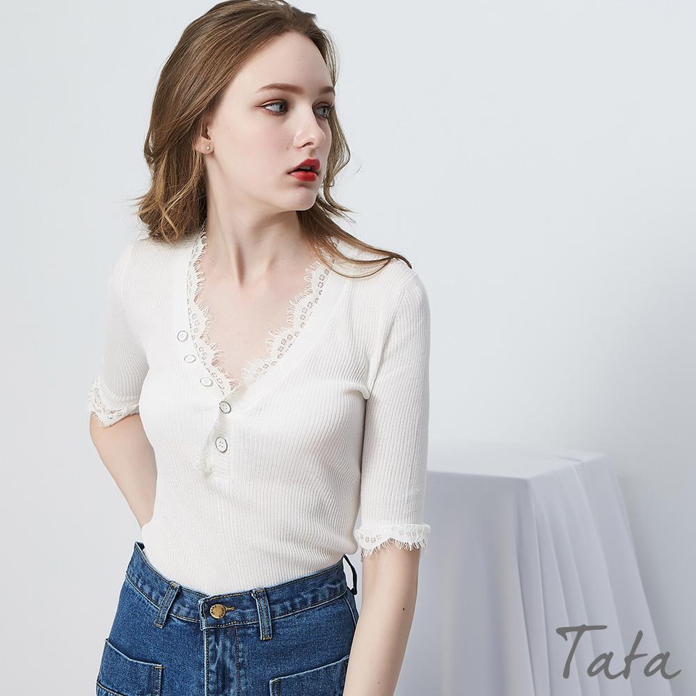 拼接蕾絲針織上衣 共三色 TATA