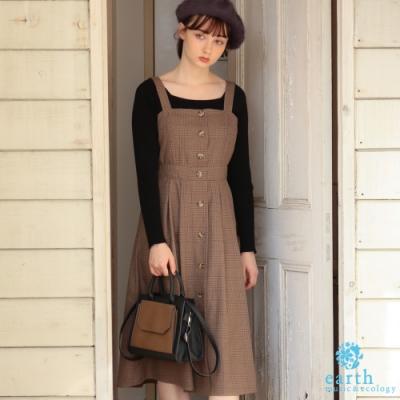 earth music 格紋前排釦合身喇叭裙剪裁吊帶洋裝