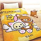 享夢城堡 法蘭絨暖暖毯被150x195cm-拉拉熊Rilakkuma 可愛變身貓-棕黃