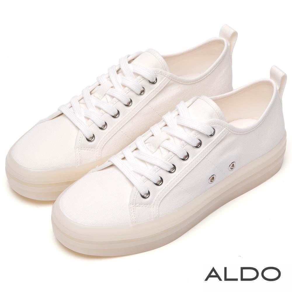 ALDO 原色小清新果凍厚底綁帶式休閒鞋~清新白色