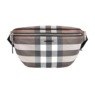 BURBERRY   Check格紋環保帆布肩背/腰包(暗樺木棕色)