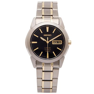 SEIKO 輕量鈦金屬手錶(SGG735P1)-灰黑色面x雙色錶帶/36mm