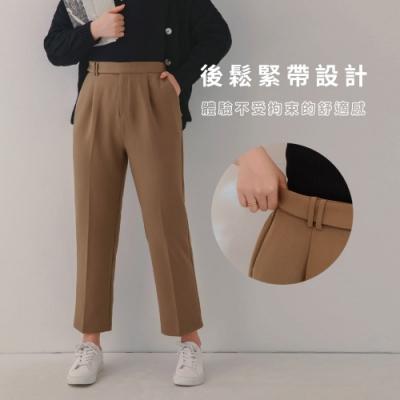 AIR SPACE LADY 中大尺碼 俐落側釦直筒西裝褲(棕)