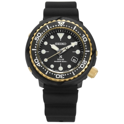 SEIKO 精工 PROSPEX 太陽能 潛水 日期 防水 矽膠手錶-黑金色/47mm