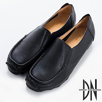 DN 歐美簡約 全真皮素面休閒輕便鞋-黑