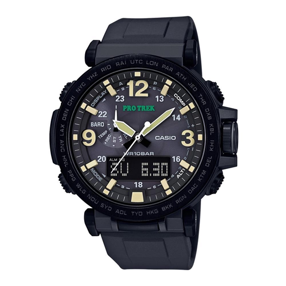 PROTREK粗曠威武戶外活動高亮度照明登山錶(PRG-600Y-1)黑框X黑/57mm