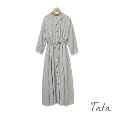格紋綁帶排扣洋裝 TATA-F