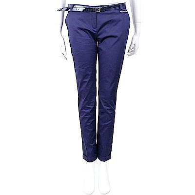 YES LONDON 反褶設計藍紫色棉質九分煙管褲(附腰帶) @ Y!購物