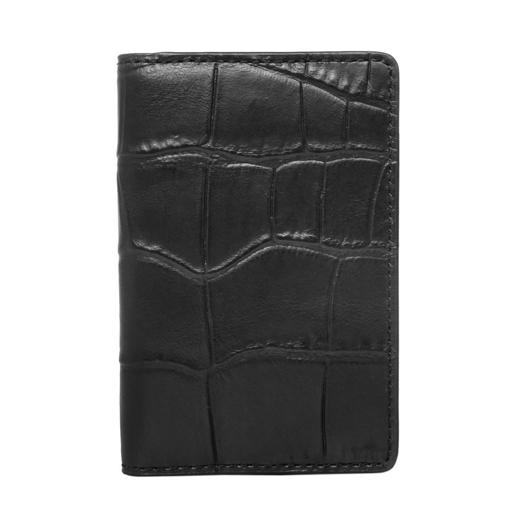 COACH黑色鱷魚紋全皮雙摺對開票卡夾