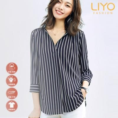 襯衫-LIYO理優-抗菌除臭V領百搭條紋顯瘦襯衫