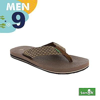 SANUK 男款US9 編織紋人字拖鞋(咖啡色)