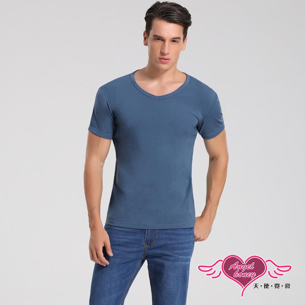 塑身衣 簡約時尚 短袖彈性透氣運動上衣 內搭T恤  健身 (藍色M~2L) AngelHoney天使霓裳
