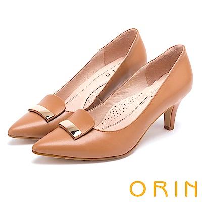 ORIN 典雅時尚女人 金屬片妝點牛皮尖頭高跟鞋-棕色