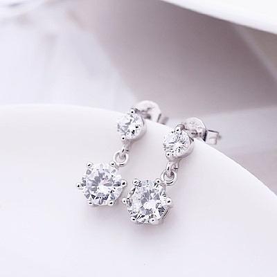 米蘭精品 925純銀耳環-時尚閃耀鑲鑽耳環