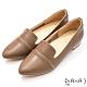 DIANA 2cm 牛皮金屬線條拼接鏡面尖頭低跟鞋-質感氛圍–棕 product thumbnail 1