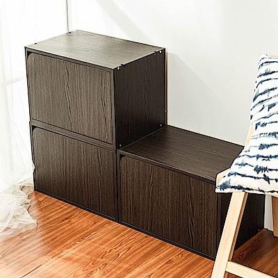 樂嫚妮 DIY 日式 收納櫃/門櫃/書櫃/附門-深胡桃木色3入組-42X28.2X28.8cm