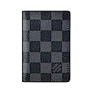LV N63143 棋盤格LOGO Damier Graphite帆布8卡對折卡片夾(黑)