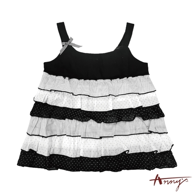 Annys安妮公主-點點層次蛋糕裙設計春夏款吊帶洋裝*0311黑色