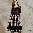 GLORY21 氣質格紋印花及膝裙