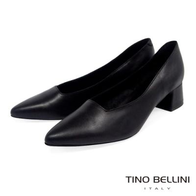 Tino Bellini義大利進口方形鞋口4cm粗跟鞋_黑