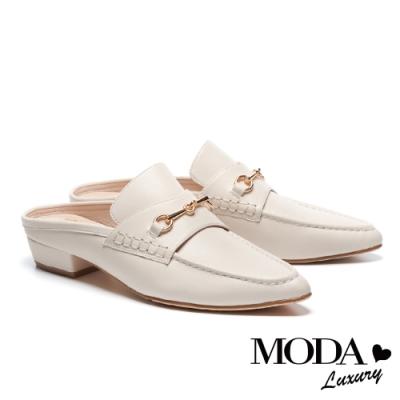 拖鞋 MODA Luxury 復古時尚馬銜釦穆勒尖頭低跟拖鞋-白