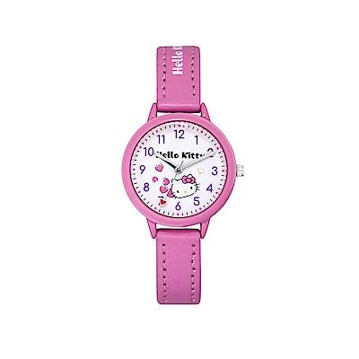HELLO KITTY 凱蒂貓 粉嫩簡約造型手錶-白×桃紅/32mm
