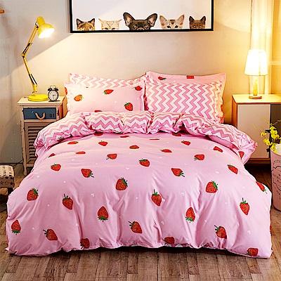 Ania Casa 小草莓 雙人四件式 柔絲絨美肌磨毛 台灣製 雙人床包被套四件組