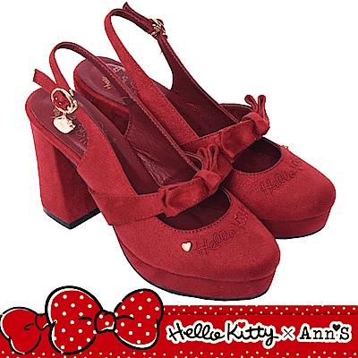HELLO KITTY X Ann'S毛茸茸精緻金吊飾蝴蝶結拉帶露後跟粗跟鞋-酒紅
