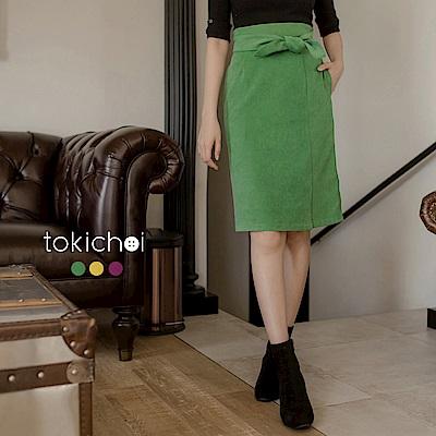 東京著衣 韓國歐逆氣質蝴蝶結綁帶多色中長裙-S.M.L(共三色)