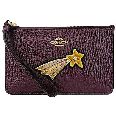 COACH 馬車星星刺繡亮片防刮皮革手拿包(中/覆盆紫)