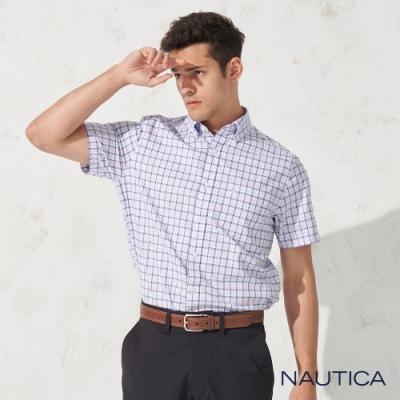 Nautica 經典細格紋短袖襯衫-淺紫