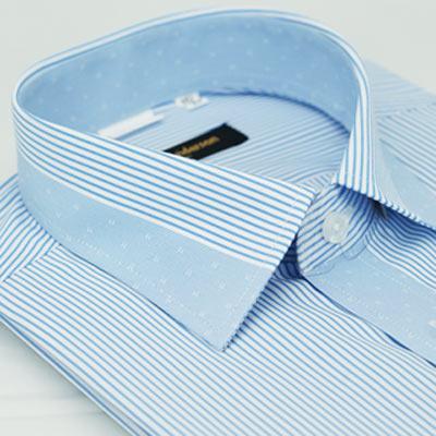 金‧安德森 藍色變化領窄版短袖襯衫fast