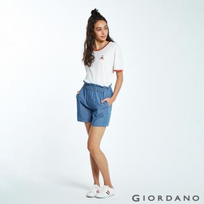 GIORDANO 女裝荷葉邊褲頭鬆緊薄牛仔短褲-72 中藍色